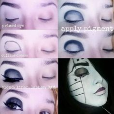Cosplay cut crease! I was asked how I did my cut crease for my Mettaton bodypaint so I made a pictorial! This can be used to enlarge the eye make yourself look more animated and can be adjusted depending on who your cosplaying!  USED:  @urbandecaycosmetics primer potion naked 2 pallet in Blackout and Verve @maccosmetics liquid liner in boot black @mehronmakeup black eye pencil