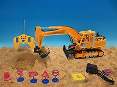 Ginzick 12 Ch Full Functional Excavator, Electric Rc Remote Control Construction Tractor with Music Lights Sounds and Construction Road Signs