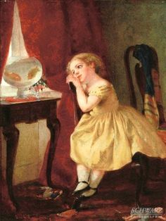 Lambin, George Cochran (b,1830)- Girl w Goldfish Bowl