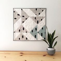 Flying Geese Wall Quilt featuring Cotton & Flax scraps, made by Salty Oat