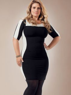 Love this dress, if the white patches were a bright colour like cobalt blue it would be perfect! Skinny Fashion, Curvy Girl Fashion, Plus Size Fashion, Big Girl Clothes, Cool Outfits, Fashion Outfits, Full Figure Fashion, Full Figured Women, Well Dressed