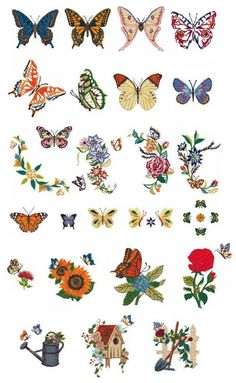 Brother Memory Card No. 47 - Butterfly.   Add butterflies to your collection with these 25 beautiful and colorful designs. The butterflies are different types, colors and sizes which make them stylish for any piece of clothing. -