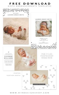 FREE Birth Announcements templates - January freebie | Photoshop templates for photographers by Birdesign
