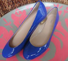 NEW J Crew Cobalt Blue Janey Patent Flats Shoes Gold Heels RT $178 Sz 7 Sold Out