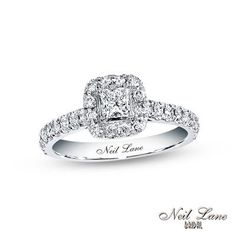 Neil Lane Bridal® Collection 7/8 CT. T.W. Princess-Cut Diamond Frame Engagement Ring in 14K White Gold
