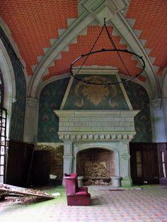 The great hall in Orne Normandy ruin Chateau de la Poupeliere