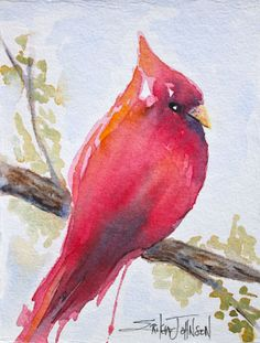 Cardinal Bird Original Water Color painting by ErikaJohnsonGallery, $30.00