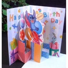 Stitch Scrump Balloon Birthday Card