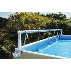 pool landscaping Kokido Solaris II Above Ground Pool 24 ft Cover Reel & Tube Set Above Ground Swimming Pools, In Ground Pools, Above Ground Pool Cover, Solar Pool Cover, Backyard Pool Landscaping, Landscaping Ideas, Tropical Backyard, Backyard Ideas, Intex Pool