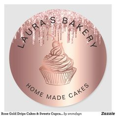 Rose Gold Drips Cakes & Sweets Cupcake Home Bakery Classic Round Sticker Cake Albums, Candy Logo, Cake Branding, Gold Cupcakes, Gold Drip, Business Thank You Cards, Packaging Stickers, Home Bakery, Postcard Invitation