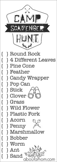 Printable Camp Scavenger Hunt Bags, perfect for a camping trip or day camp.
