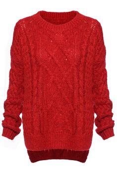 Cable Knit Jumper--Red