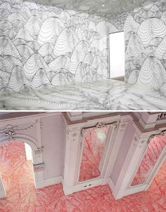 An entire room suddenly becomes a strange, abstracted landscape with the topographic renderings of artist Heike Weber.
