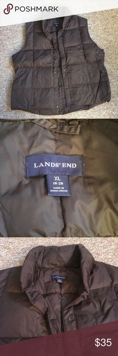 Lands End Down Vest Like new Lands End down vest. Only worn a handful of times, super comfy, and extremely warm! Dark brown/chocolate color make it the perfect addition to any outfit.  **smoke free, pet free home** Lands' End Jackets & Coats Vests