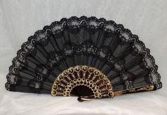 Lace Fan F-350-1, Black Lace Fan, Abanico Puntilla, Hand Fan, Spanish Hand Fans