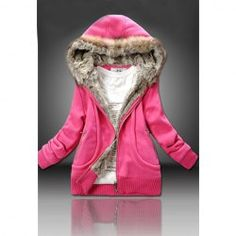 $16.29 Casual Artificial Wool Embellished Hooded Zipper and Pocket Design Cotton Coat For Women