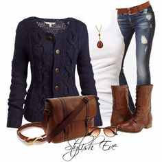 fall outfit. Navy? Cardigans? I'm in!