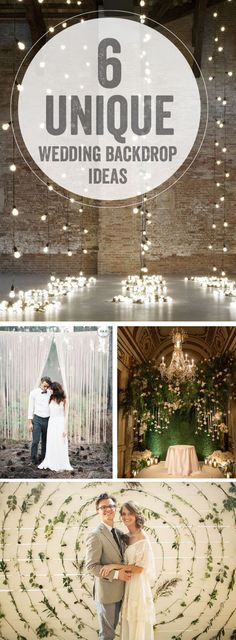 Love the idea of creating something unique to serve as the backdrop for your wedding. Here are a few of my favorite inspirations. What ideas are you guys liking for this? Images via  1  2  3  4 1  2