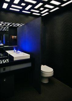 Modem and very impressive bathroom with ultramarine blue lights