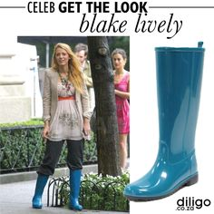 CELEB GET THE LOOK: BLAKE LIVELY Blake Lively, Hunter Boots, Get The Look, Rubber Rain Boots, Celebs, Fashion Design, Shoes, Dresses, Style