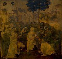 Leonardo da Vinci  La Adoración de los magos (ca. 1481-1482). En marzo de 1481 Leonardo recibió el encargo de este óleo (hoy en la Galería Uffizi de Florencia) de los monjes de San Donato de Scopeto, en Florencia. El administrador del monasterio era el padre de Leonardo, y es muy probable que indujese a los monjes a contratar a su hijo.