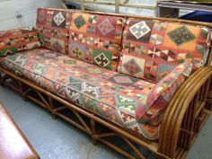 Vintage Rattan Sofa and Chair Southwest Upholstery by jennykb10, $1400.00