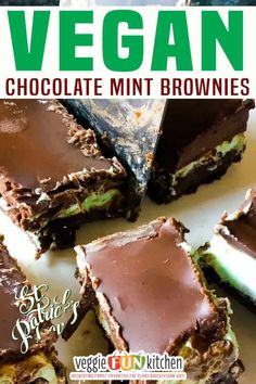 Chocolate mint brownies are made with a layer of rich chocolate cake brownie, followed by a fluffy minty buttercream layer, all finished with decadent chocolaty smooth ganache topping. This easy vegan brownie recipe is 100% egg-free and dairy-free, and 100% delicious! Okay, veggie fans. I'm just putting this out there right now: this is NOT a health food. There is no hidden kale in the fluffy minty buttercream layer. No chickpeas in the creamy smooth chocolate ganache. | @veggiefunkitchen