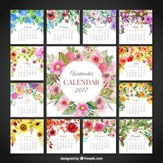 calendário floral bonito de 2017 Vetor grátis