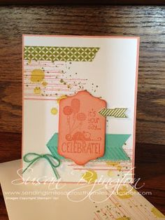 Birthday card with Gorgeous Grunge and Tag It stamp sets, both from Stampin' Up!