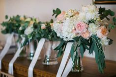 Organic wedding bouquet cream blush pink and peach by Passion for Flowers