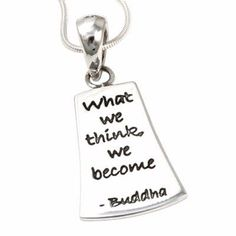 """""""what we think, we become"""" - Buddha Dog Tag Necklace, Buddha, Poetry, Jewellery, Personalized Items, Sterling Silver, Pendant, Jewels, Schmuck"""