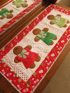 """Fusible applique runner features gingerbread cookies, the """"No Bake Kind!"""" Fast and fun to make for your Christmas kitchen. Finished size: 17 1/2"""" x 39 1/2"""""""