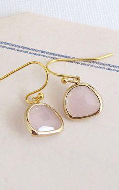 Ice Pink Jewel Glass Drop 14k Gold filled Earrings.