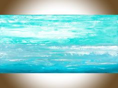 """Ocean Cloud by QIQIGallery 48"""" x 24"""" Abstract painting original seascape artwork painting on canvas wall art wall Decor home decor wall hanging blue green white"""
