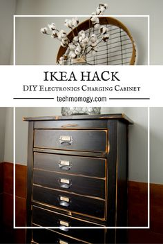 This set of drawers may look vintage but it is full of modern vibes. @techmomogy gave this simple dresser a new high-end, high-tech new lease on life with Varathane from Rust-Oleum. Learn how to give your furniture a vintage, distressed look that safely and discretely organizes and charges all of your electronics! Pick up some Varathane Premium Wood Stain to get started: http://spr.ly/64908XG3E