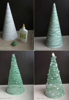 Made with a paper cone and yarn. Dip the yarn in Elmer's glue and while it's wet wrap it around the cone. Let it dry completely and then remove it from the cone. Then decorate!