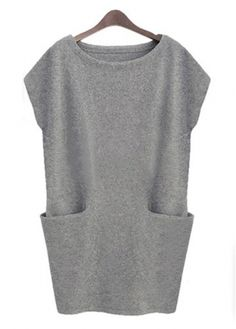 $16.66 Fashion Round Neck Light Grey Sweater Dress with Pockets