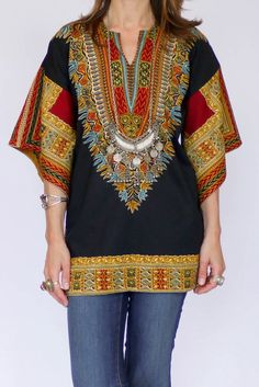 Vintage 60s Dashiki tuniek available at www.secondhandnew.nl