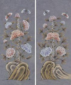 Korean Painting, Ceramic Flowers, Botanical Art, Peonies, Hand Embroidery, Folk Art, Ceramics, Illustration, Paintings