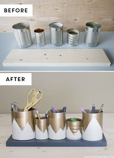 DIY: upcycled tin can organizer