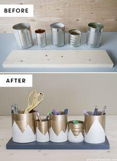 DIY: upcycled tin can organizer