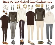 Deep Autumn Neutral Color Combinations by jeaninebyers, via Polyvore