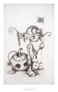 Fantasy and Gothic Art: Tricky Treats! by thePicSees. Fairy Drawings, Fantasy Drawings, Cute Drawings, Drawing Sketches, Drawing Ideas, Anime Art Fantasy, Dark Fantasy, Illustration Art, Illustrations
