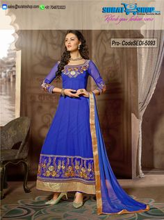 Appear Stunningly Superb In This Blue Faux Georgette Salwar Kameez. This Beautiful Attire Is Showing Some Superb Embroidery Done With Floral Patch, Lace, Resham Work. Paired With A Matching Bottom Comes With A Matching Dupatta  Visit: http://surateshop.com/product-details.php?cid=2_27_63&pid=7381