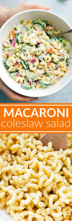 Two amazing summer side-dishes collide into one insanely tasty Macaroni Coleslaw Salad! Perfect for a potluck or summer get-together! video tutorial One of our family rules is that we can each hav