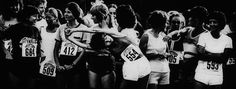 Photographer/Creator  Charles Kneyse  Collection  1980  Publisher  Idaho Statesman  Caption/Description  Shauna MacLellan gets in some last minute stretching at the starting line of a 10-kilometer race for women only. She went on to place first in the event.