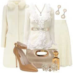 Beautiful Winter White by stylesbyjoey on Polyvore featuring Coast, River Island, Elie Saab, Michael Kors, Monsoon, Lido Pearls, Jon Richard, Dorothy Perkins, Clive Christian and pleated skirts