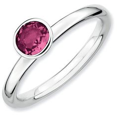 Expressions Sterling Silver Round 5mm Pink Tourmaline Stackable Ring ($105) ❤ liked on Polyvore