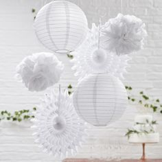 6 White Paper Lanterns and Fans, White Party Decorations, Wedding Decoration, White Baby Shower Decorations, Birthday Decorations - New Deko Sites Paper Fan Decorations, Hanging Wedding Decorations, White Wedding Decorations, Birthday Decorations, Baby Shower Decorations, Outdoor Decorations, White Paper Lanterns, Wedding Paper Lanterns, Hanging Paper Lanterns
