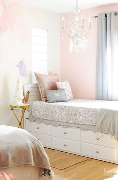 "Decorating ideas for a Holiday ""Winter Wonderland"" inspired girls' bedroom. I found at @homegoods some pillows with sparkling details that brought some cheer into this room. (sponsored pin)"